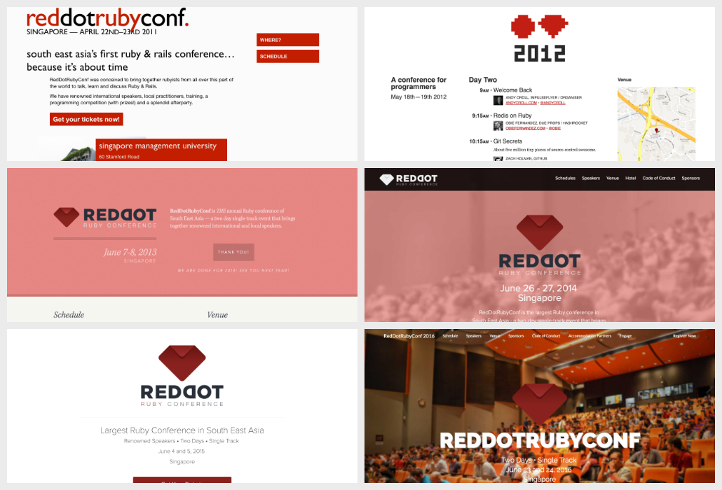 RedDotRubyConf web sites from 2011 to 2016