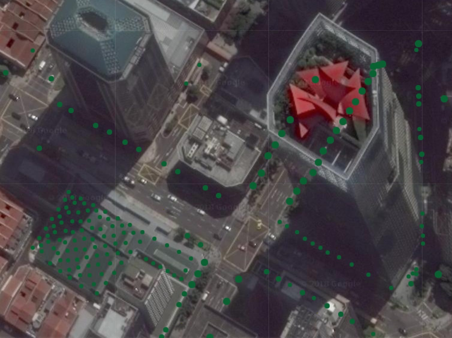 Satellite view from Google Maps on Trees.sg