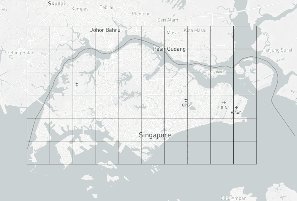 Square grids of Singapore's boundary