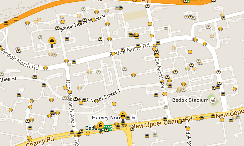 Taxi markers on map, some faded which means they are stationary