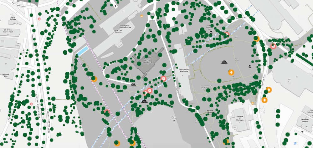 Tress.sg web site, zoomed in showing individual trees