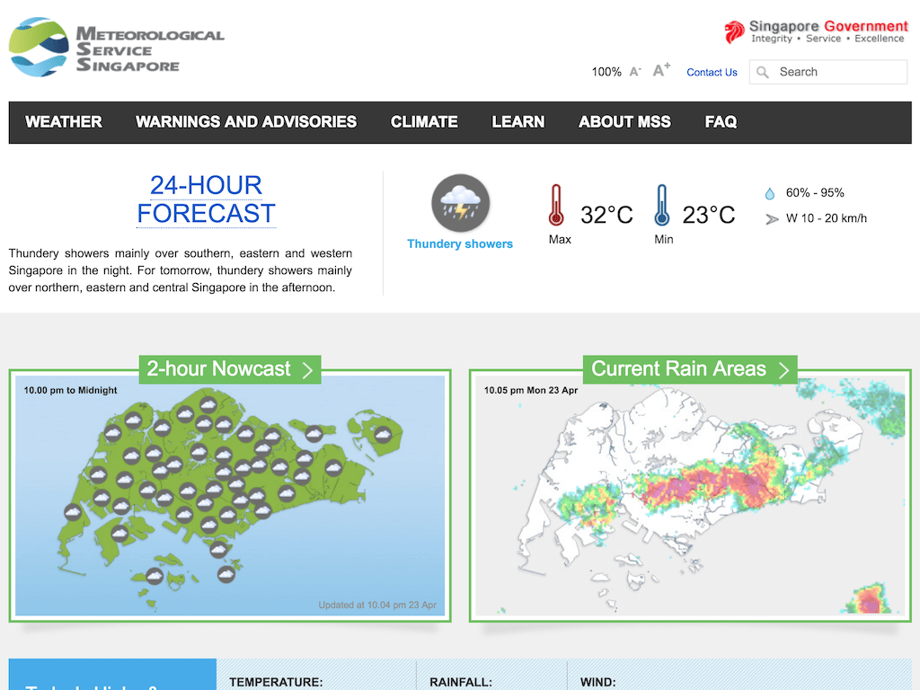 Weather.gov.sg web site showing 2-hour Nowcast and Current Rain Areas