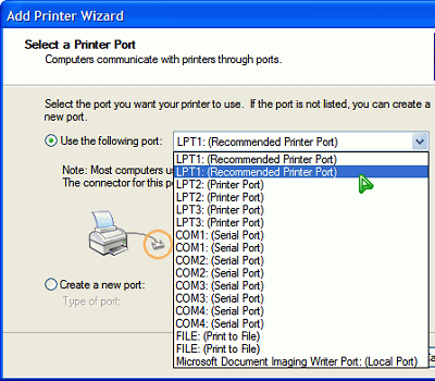 cloned ports listed on the menu popup of the 'Select a Printer Port' section of the 'Add Printer Wizard' window